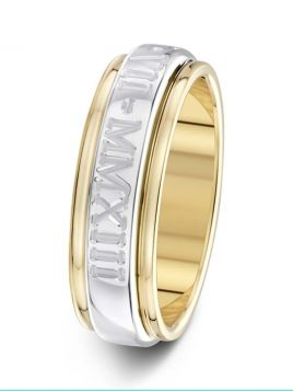 6.5mm heavy rounded court two tone parallel grooves with engraving wedding ring