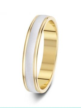 4mm two-tone textured centre with polished sides wedding ring