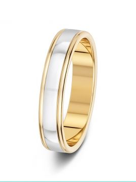 4mm two-tone double groove polished wedding ring