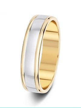5mm polished contrast two tone wedding ring