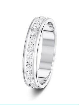 4mm fully sparkle cut patterned wedding ring