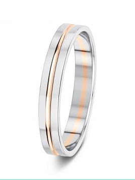 3.5mm two-tone soft bevelled edge grooved wedding ring