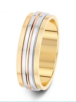 6mm three colour stepped patterned wedding ring