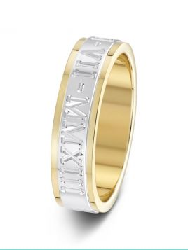 5mm two tone flat court outer engraved wedding ring