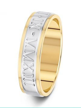 6mm two tone flat parallel grooves with engraving wedding ring