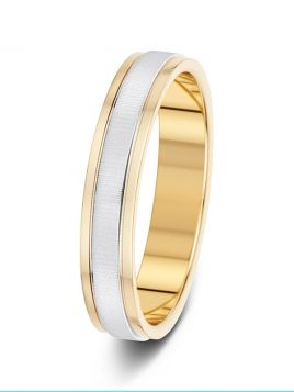 4mm two-tone textured centre polished edge wedding ring