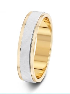 5mm polished edge textured centre two tone wedding ring