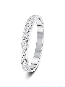 2.5mm flat court fully sparkle cut patterned wedding ring