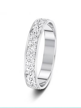 3.5mm flat court fully sparkle cut patterned wedding ring