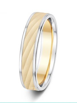 5mm comfort shimmering grooves two tone wedding ring