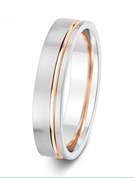 5mm two tone flat court with contrasting offset groove wedding ring