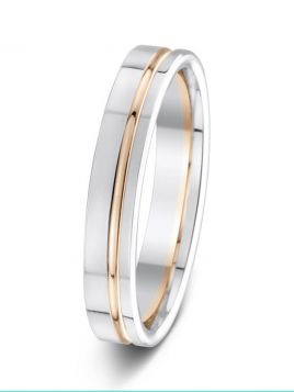4mm two-tone offset contrast groove wedding ring