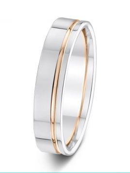 5mm polished finish contrast groove two tone wedding ring