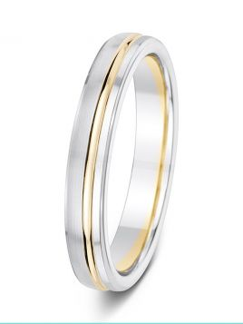 4mm two-tone offset groove with bevelled edge wedding ring