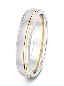 5mm matt finish polished offset groove with soft bevelled edges two tone wedding ring