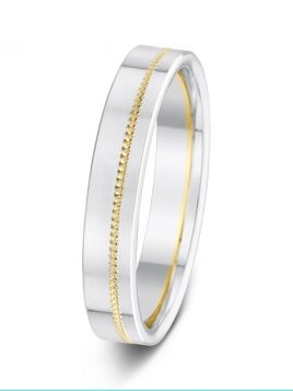4mm polished two tone milgrain groove wedding ring