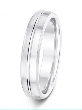 5mm centre polished groove matt finish with polished bevelled edges wedding ring