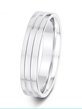 5mm bevelled double groove polished wedding ring