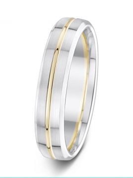 5mm matt finish polished groove with soft bevelled edges two tone wedding ring