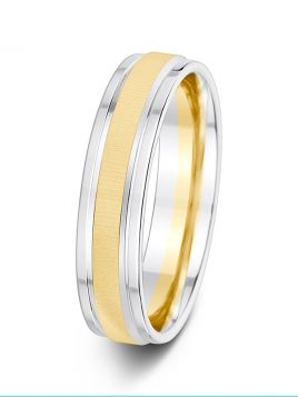 5mm polished edge textured centre two tone grooved wedding ring