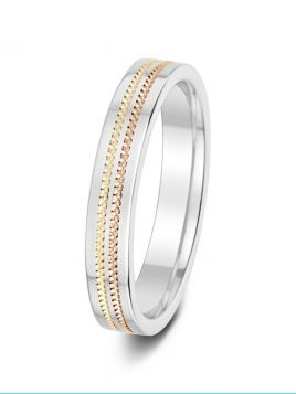 3.5mm tri-tone textured double groove wedding ring