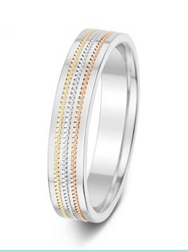 4.5mm polished three tone milgrain grooves wedding ring