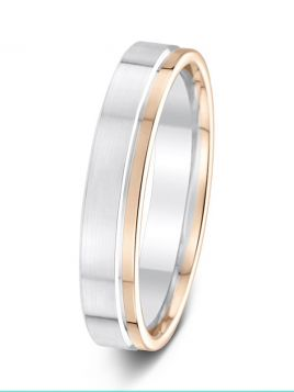 4.5mm two tone matt finish wedding ring