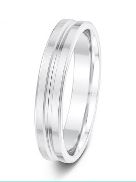 4.5mm brushed finish with centre groove and polished edges patterned wedding ring
