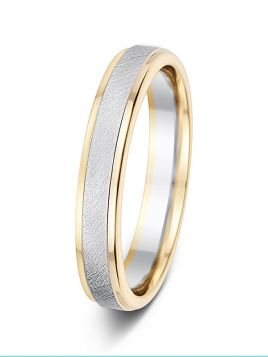 4mm two-tone brushed centre with polished sides wedding ring