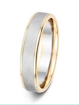 5mm polished and brushed centre finish contrast wedding ring