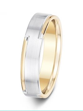 5mm two tone side design flat court wedding ring
