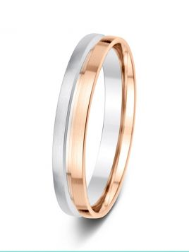 4mm two tone deep bevelled groove matt finish wedding ring