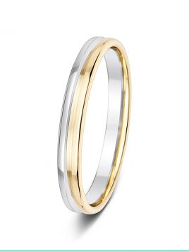 3mm two-tone polished deep groove wedding ring