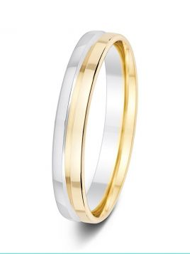 4mm polished two tone deep groove wedding ring