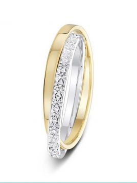 2mm two-tone Russian style polished and sparkle cut wedding ring