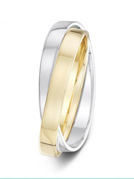 3mm polished double two-tone wedding ring