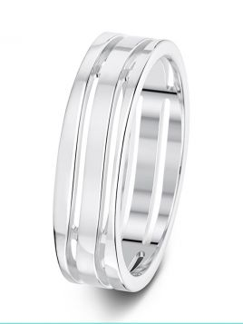 6mm flat polished pierced wavy grooves wedding ring