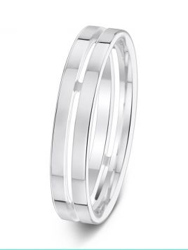 4.5mm pierced centre flat court wedding ring