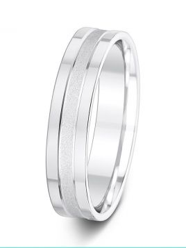 5mm flat grooved with brushed and polished finish wedding ring