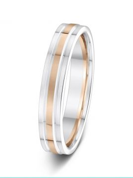 4mm two-tone double groove wedding ring