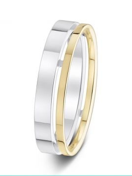 5mm two tone polished pierced offset groove wedding ring