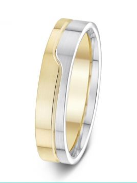 5mm matt finish two tone grooved wedding ring