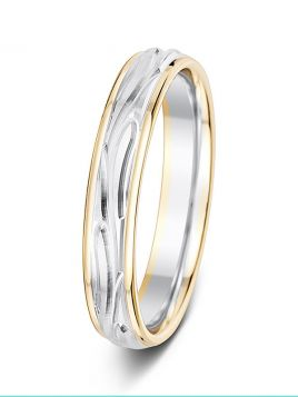 4mm two-tone central vine pattern wedding ring
