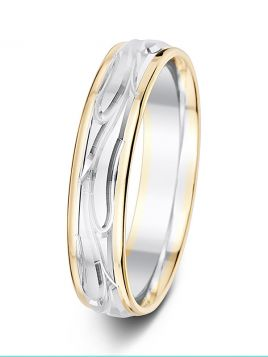 5mm vine design polished and matt two tone wedding ring