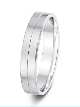 4.5mm satin and polish contrast groove wedding ring