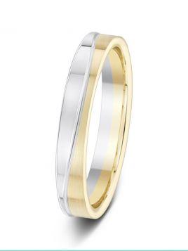 3.5mm two tone matt and polished wavy design wedding ring