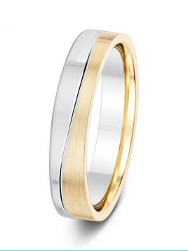 4.5mm matt finish two tone wavy grooved wedding ring