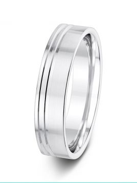 5mm brushed finish with off-centre grooves patterned wedding ring
