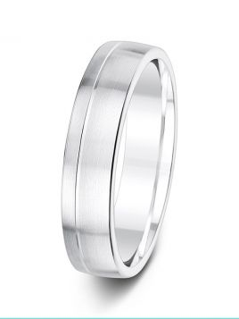 5mm brushed finish with off-centre groove patterned wedding ring