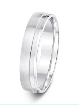 5mm wide polished offset groove matt finish wedding ring